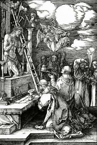 The Mass of St. Gregory, 1511 (Woodcut)-Albrecht D?rer-Stretched Canvas Print