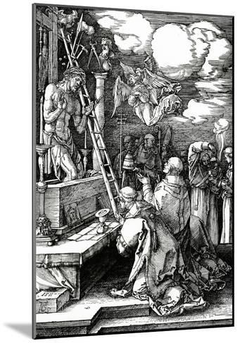 The Mass of St. Gregory, 1511 (Woodcut)-Albrecht D?rer-Mounted Giclee Print