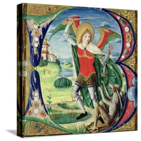 Historiated Initial 'B' Depicting St. Michael and the Dragon, 1499-1511 (Vellum)-Alessandro Pampurino-Stretched Canvas Print
