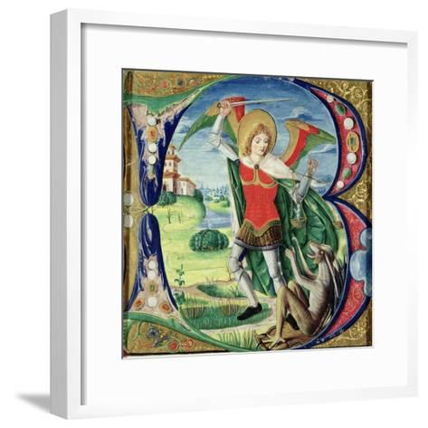 Historiated Initial 'B' Depicting St. Michael and the Dragon, 1499-1511 (Vellum)-Alessandro Pampurino-Framed Art Print