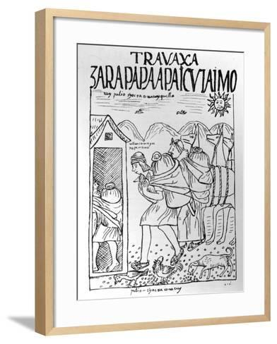 The Month of July, Storing Maize and Potatoes (Woodcut)-Felipe Huaman Poma De Ayala-Framed Art Print