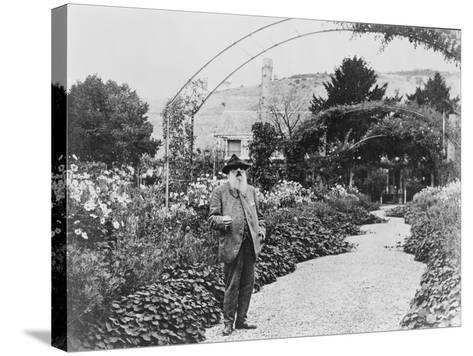Claude Monet (1841-1926) in His Garden at Giverny, C.1925 (B/W Photo)-French Photographer-Stretched Canvas Print