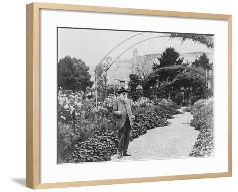 Claude Monet (1841-1926) in His Garden at Giverny, C.1925 (B/W Photo)-French Photographer-Framed Art Print