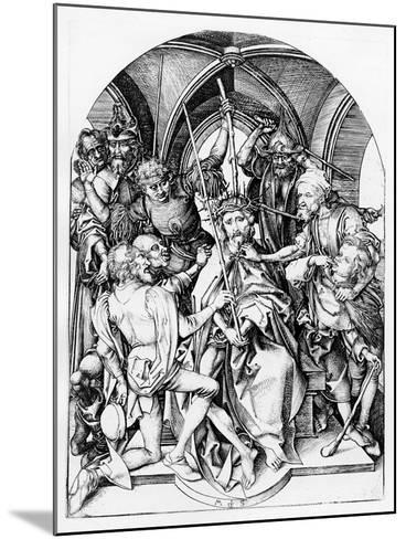 Christ Crowned by Thorns (Engraving)-Martin Schongauer-Mounted Giclee Print