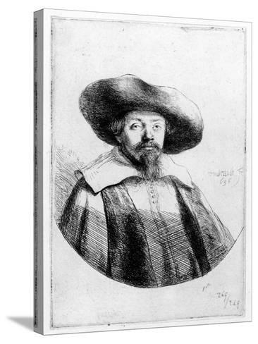 Samuel Manasseh Ben Israel, 1636 (Etching)-Rembrandt van Rijn-Stretched Canvas Print
