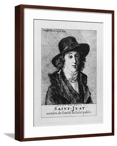 Louis Antoine Leon De Saint-Just, Engraved by Frederic Desire Hillemacher (1811-86) 1869-Jacques-Louis David-Framed Art Print