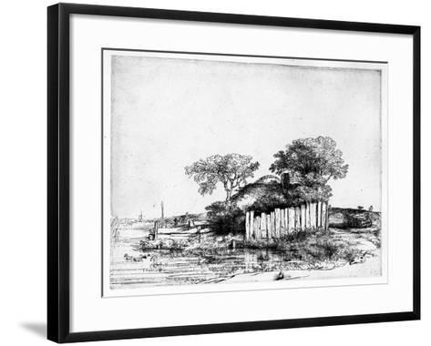 Cottage with a White Paling, 1648 (Etching)-Rembrandt van Rijn-Framed Art Print