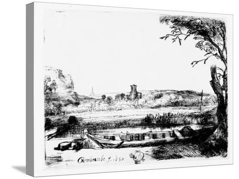 View of a Canal, 1650 (Etching)-Rembrandt van Rijn-Stretched Canvas Print