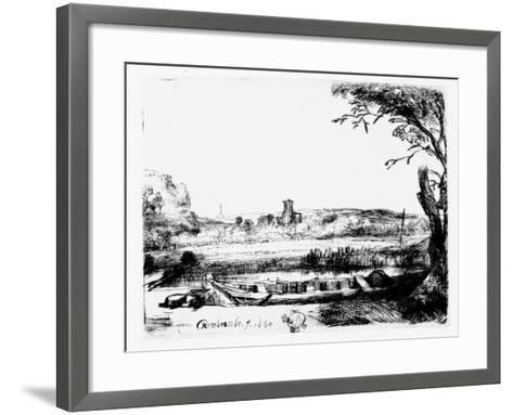 View of a Canal, 1650 (Etching)-Rembrandt van Rijn-Framed Art Print