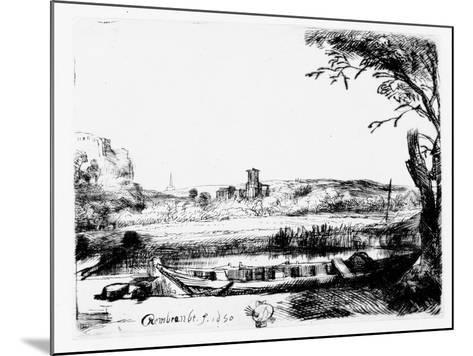 View of a Canal, 1650 (Etching)-Rembrandt van Rijn-Mounted Giclee Print
