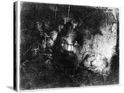 The Adoration of the Shepherds, C.1652 (Etching)-Rembrandt van Rijn-Stretched Canvas Print