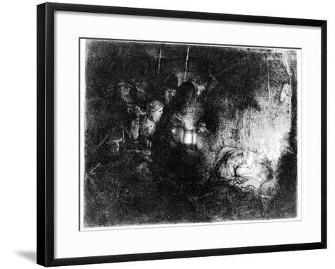 The Adoration of the Shepherds, C.1652 (Etching)-Rembrandt van Rijn-Framed Art Print