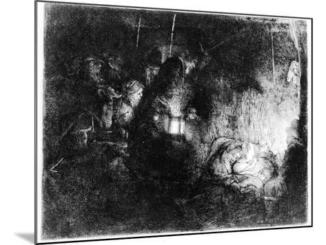 The Adoration of the Shepherds, C.1652 (Etching)-Rembrandt van Rijn-Mounted Giclee Print