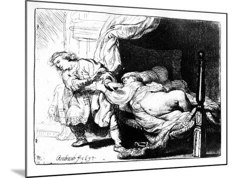 Joseph and Potiphar's Wife, 1634 (Etching)-Rembrandt van Rijn-Mounted Giclee Print