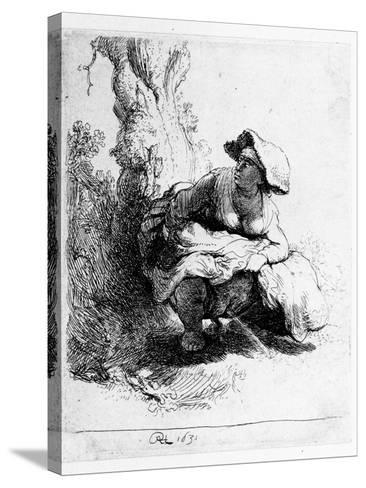 Woman Urinating under a Tree, 1631 (Etching)-Rembrandt van Rijn-Stretched Canvas Print