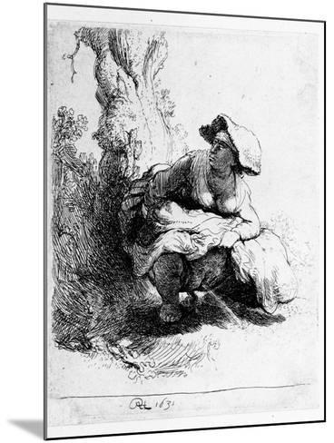 Woman Urinating under a Tree, 1631 (Etching)-Rembrandt van Rijn-Mounted Giclee Print