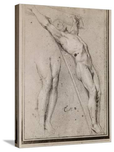Christ on the Cross, C.1685 (Pierre Noire and White Chalk Highlights on Beige Paper)-Charles Le Brun-Stretched Canvas Print