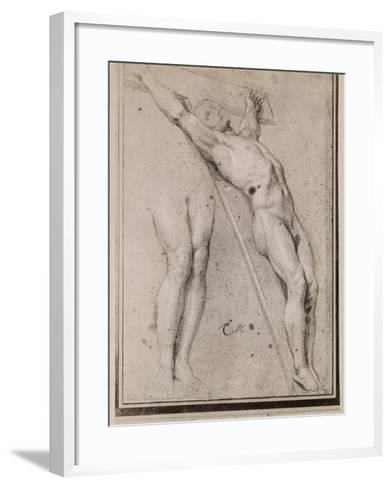 Christ on the Cross, C.1685 (Pierre Noire and White Chalk Highlights on Beige Paper)-Charles Le Brun-Framed Art Print