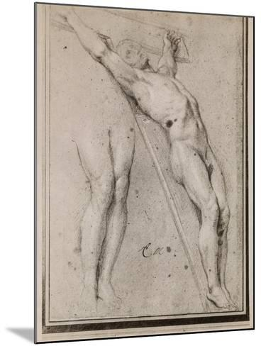 Christ on the Cross, C.1685 (Pierre Noire and White Chalk Highlights on Beige Paper)-Charles Le Brun-Mounted Giclee Print