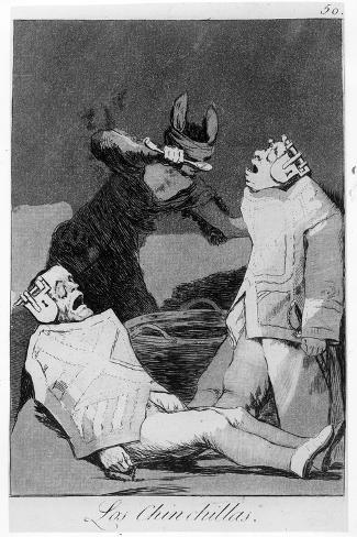 The Chinchillas, Plate 50 of 'Los Caprichos', 1799 (Etching and Aquatint)-Francisco de Goya-Stretched Canvas Print