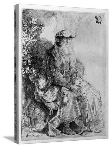 Abraham Holding Young Isaac, C.1637 (Etching)-Rembrandt van Rijn-Stretched Canvas Print