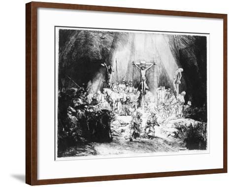 The Three Crosses, 1653 (Drypoint)-Rembrandt van Rijn-Framed Art Print