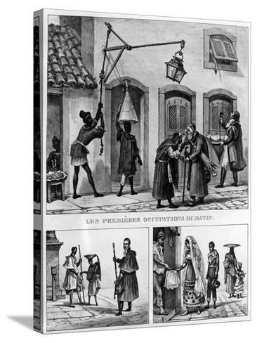 Daily Life in Brazil, from 'Travels in Brazil', Lithographed by Thierry Freres, 1839 (Litho)-Jean Baptiste Debret-Stretched Canvas Print