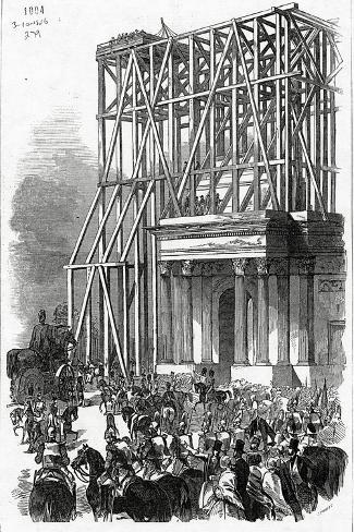 Arrival of the Wellington Statue at the Arch, Published in 'The Illustrated London News'-Ebenezer Landells-Stretched Canvas Print