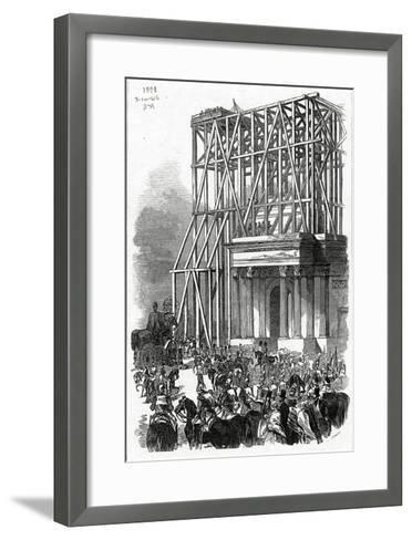 Arrival of the Wellington Statue at the Arch, Published in 'The Illustrated London News'-Ebenezer Landells-Framed Art Print