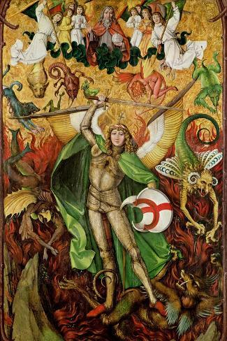 The Archangel Saint Michael in Combat with Lucifer, C.1490-1505 (Oil on Wood)-Hans the Elder Leu-Stretched Canvas Print