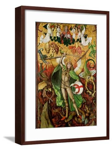 The Archangel Saint Michael in Combat with Lucifer, C.1490-1505 (Oil on Wood)-Hans the Elder Leu-Framed Art Print