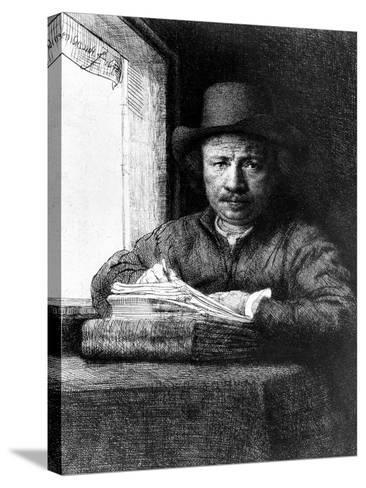 Self Portrait While Drawing, 1648 (Etching)-Rembrandt van Rijn-Stretched Canvas Print