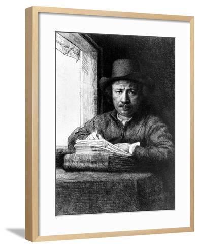 Self Portrait While Drawing, 1648 (Etching)-Rembrandt van Rijn-Framed Art Print