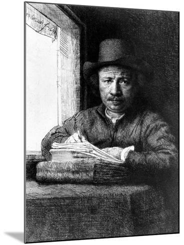 Self Portrait While Drawing, 1648 (Etching)-Rembrandt van Rijn-Mounted Giclee Print