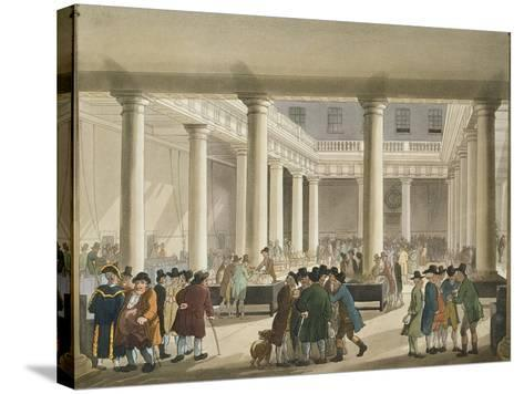 The Corn Exchange from Ackermann's 'Microcosm of London', 1808 (Aquatint)-T Rowlandson-Stretched Canvas Print