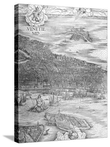 Grande Pianta Prospettica - Venice, C.1500 (Engraving) (Middle Section)-Jacopo De' Barbari-Stretched Canvas Print