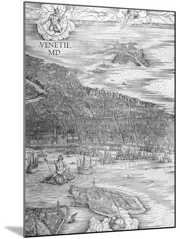 Grande Pianta Prospettica - Venice, C.1500 (Engraving) (Middle Section)-Jacopo De' Barbari-Mounted Giclee Print