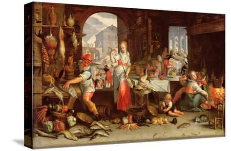 Kitchen Scene with the Parable of the Feast-Joachim Wtewael Or Utewael-Stretched Canvas Print