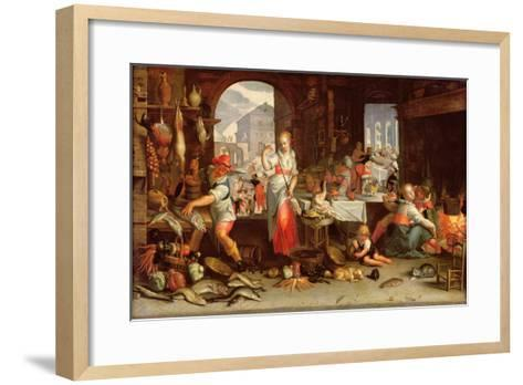 Kitchen Scene with the Parable of the Feast-Joachim Wtewael Or Utewael-Framed Art Print