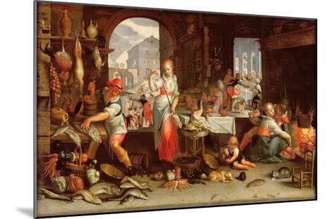 Kitchen Scene with the Parable of the Feast-Joachim Wtewael Or Utewael-Mounted Giclee Print