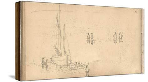 Boat of Villerville Alongside the Quay, Study of Figures (Pencil on Paper)-Claude Monet-Stretched Canvas Print