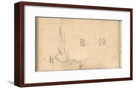 Boat of Villerville Alongside the Quay, Study of Figures (Pencil on Paper)-Claude Monet-Framed Art Print