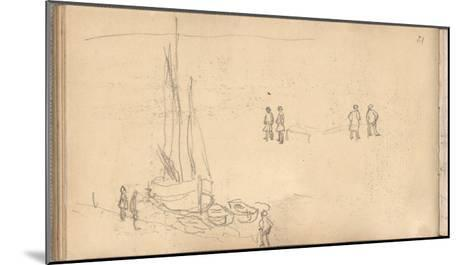 Boat of Villerville Alongside the Quay, Study of Figures (Pencil on Paper)-Claude Monet-Mounted Giclee Print