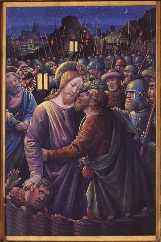 The Kiss of Judas, End of 15th Century (Vellum)-Jean Bourdichon-Stretched Canvas Print