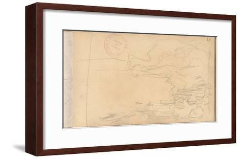 Fishing Boats on the Perrey of Etretat (Pencil on Paper)-Claude Monet-Framed Art Print