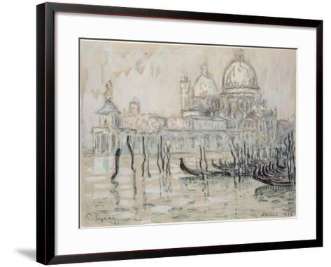 Venice Or, the Gondolas, 1908 (Black Chalk and W/C on Paper)-Paul Signac-Framed Art Print