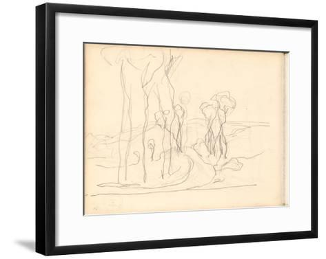 Country Lane with Trees (Pencil on Paper)-Claude Monet-Framed Art Print