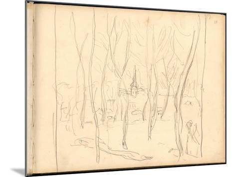 Bennecourt Seen Through the Trees (Pencil on Paper)-Claude Monet-Mounted Giclee Print