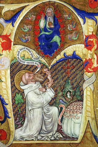 Historiated Initial 'A' Depicting St. Benedict Offering His Soul to God the Father, Lombardy School- Master of the Vitae Imperatorum-Stretched Canvas Print