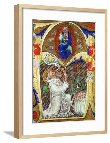 Historiated Initial 'A' Depicting St. Benedict Offering His Soul to God the Father, Lombardy School- Master of the Vitae Imperatorum-Framed Art Print